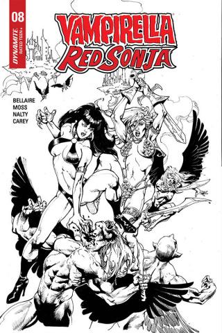 Vampirella / Red Sonja #8 (7 Copy Castro B&W Cover)