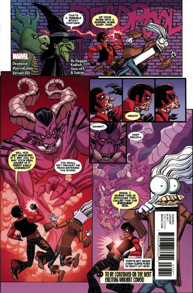 Deadpool #33 (Koblish Secret Comics Cover)
