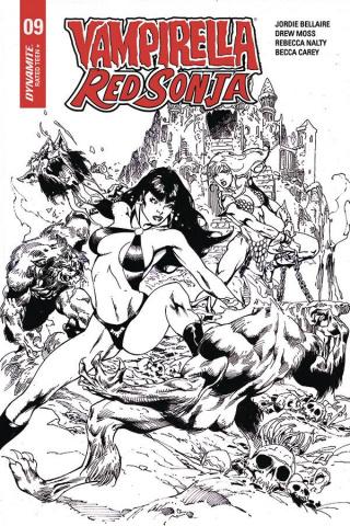 Vampirella / Red Sonja #9 (7 Copy Castro B&W Cover)