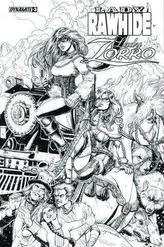 Lady Rawhide / Lady Zorro #3 (10 Copy Chin B&W Cover)