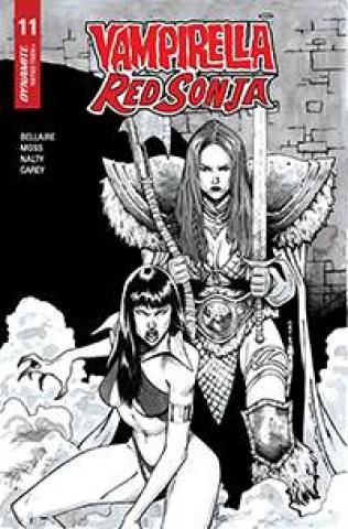 Vampirella / Red Sonja #11 (15 Copy Peeples B&W Homage Cover)