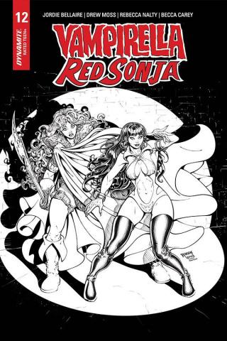 Vampirella / Red Sonja #12 (15 Copy Robson B&W Homage Cover)