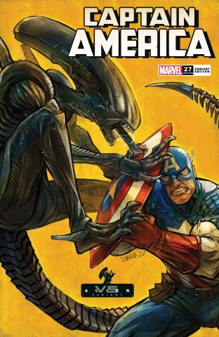 Captain America #27 (Shavrin Marvel vs. Alien Cover)