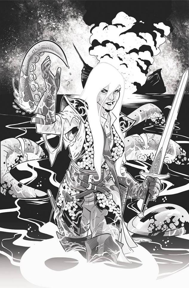 Red Sonja: Black, White, Red #3 (Izaakse Line Art Virgin Cover)