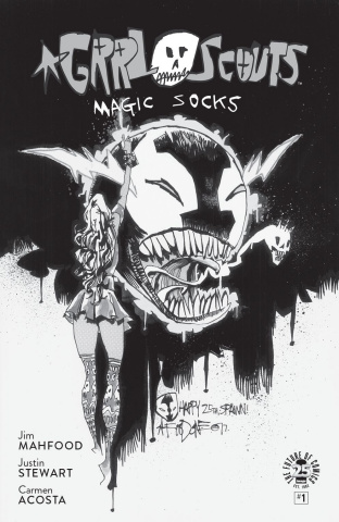 Grrl Scouts: Magic Socks #1 (Spawn Month B&W Cover)