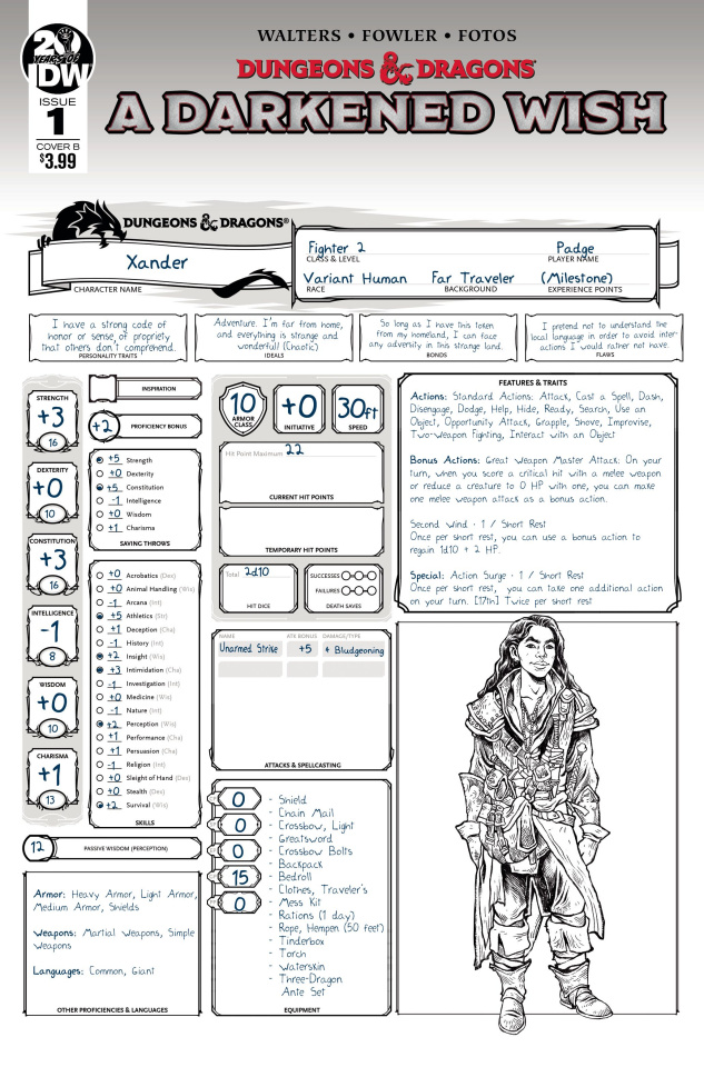 Dungeons & Dragons: A Darkened Wish #1 (Character Sheet Cover)