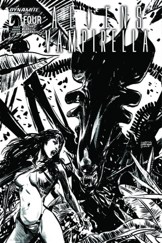 Aliens / Vampirella #4 (15 Copy B&W Cover)