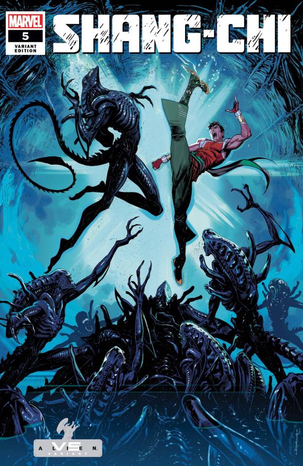 Shang-Chi #5 (Coello Marvel vs. Alien Cover)
