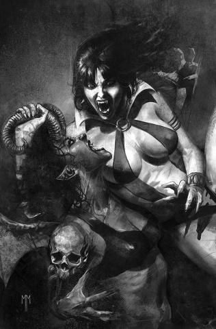 Vampirella vs. Purgatori #1 (Mastrazzo Premium B&W Virgin Cover)