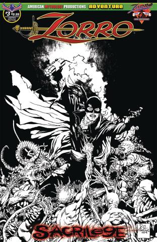 Zorro: Sacrilege #3 (Visions of Zorro B&W Cover)