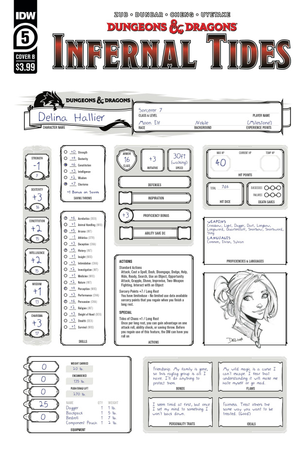 Dungeons & Dragons: Infernal Tides #5 (Character Sheet Cover)