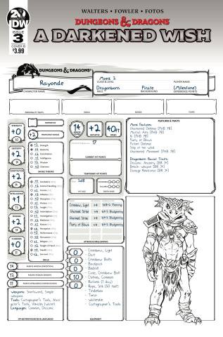 Dungeons & Dragons: A Darkened Wish #3 (Character Sheet Cover)