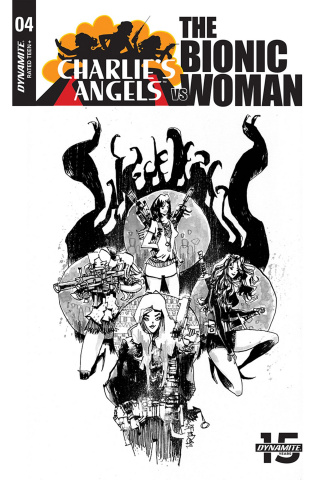 Charlie's Angels vs. The Bionic Woman #4 (10 Copy Mahfood B&W Cover)