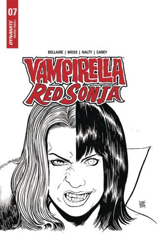 Vampirella / Red Sonja #7 (10 Copy Moss B&W Cover)