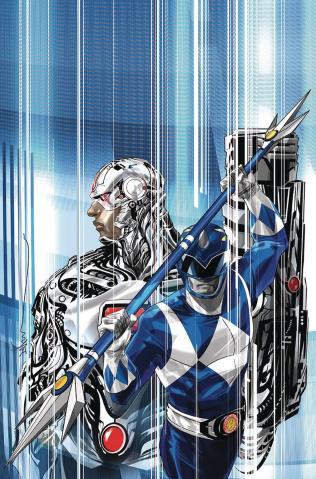 Justice League / Power Rangers #1 (Cyborg / Blue Ranger Cover)