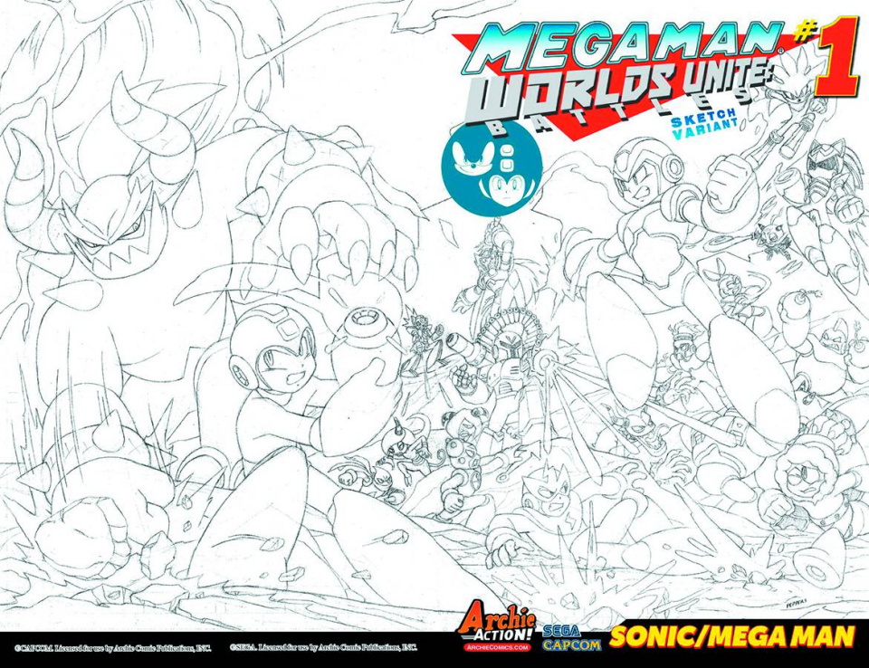 Mega Man: Worlds Unite Battles #1 (Sketch Cover)