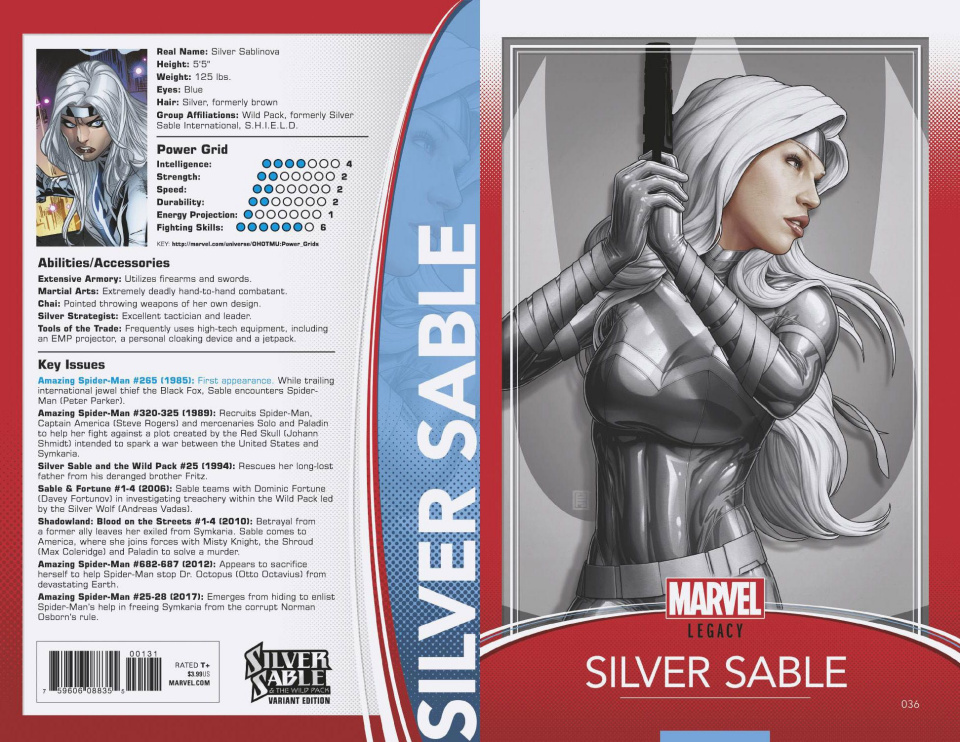 Silver Sable: The Wild Pack #36 (Christopher Trading Card Cover)