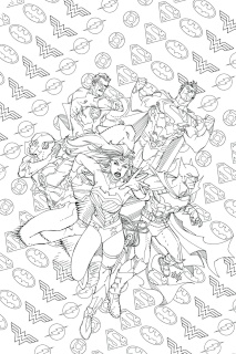 Justice League of America #7 (Adult Coloring Book Cover)