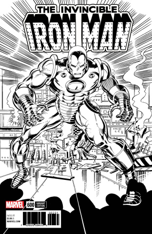 Invincible Iron Man #600 (Remastered B&W Cover)