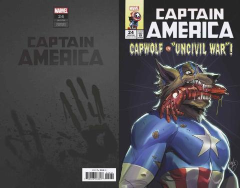 Captain America #24 (Andolfo Cap Wolf Horror Cover)