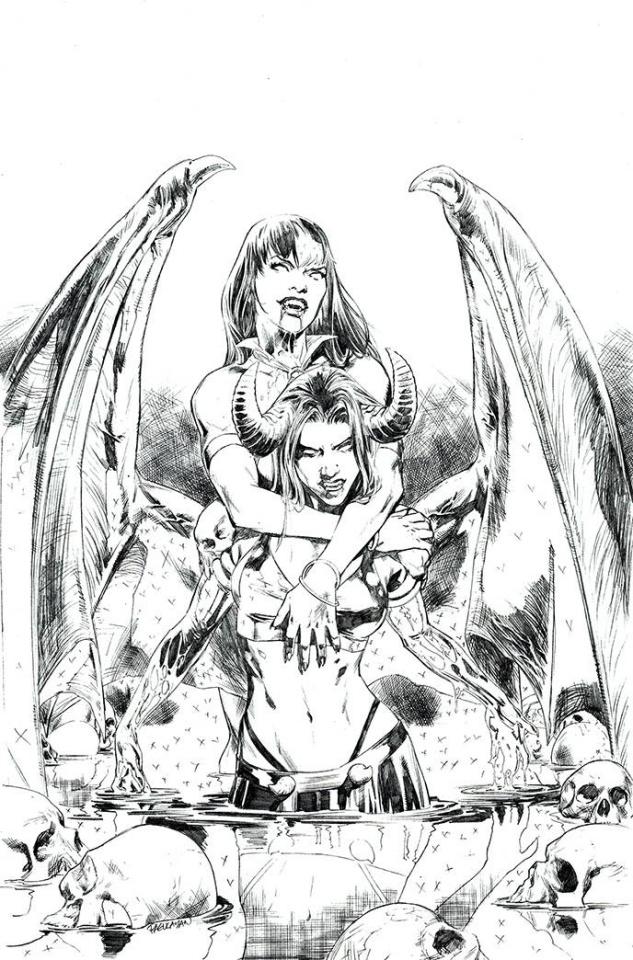 Vampirella vs. Purgatori #2 (15 Copy Pagulayan B&W Virgin Cover)