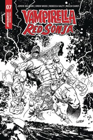 Vampirella / Red Sonja #7 (15 Copy Gedeon B&W Zombie Cover)