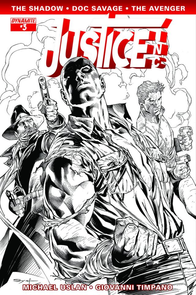 Justice, Inc. #3 (15 Copy Syaf B&W Cover)
