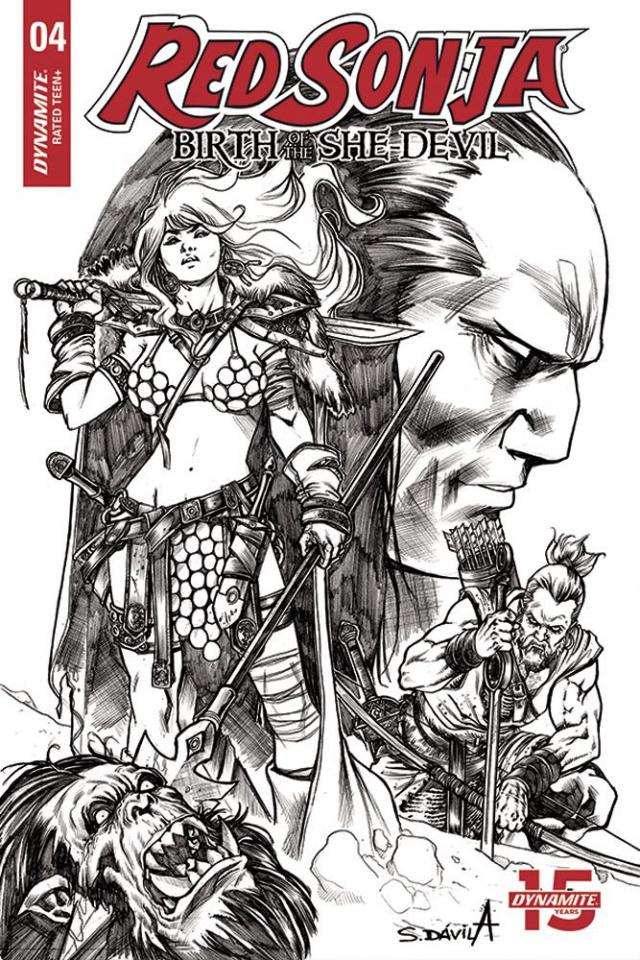 Red Sonja: Birth of the She-Devil #4 (20 Copy Davila B&W Cover)