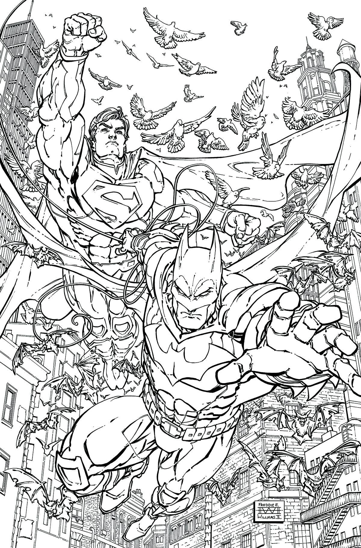 Batman Superman 28 Adult Coloring Book Cover Fresh Comics